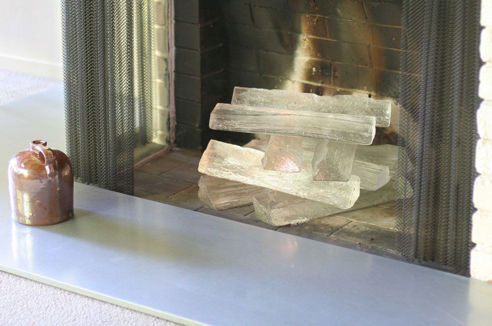 Glass logs for the fireplace by Jeff Benroth