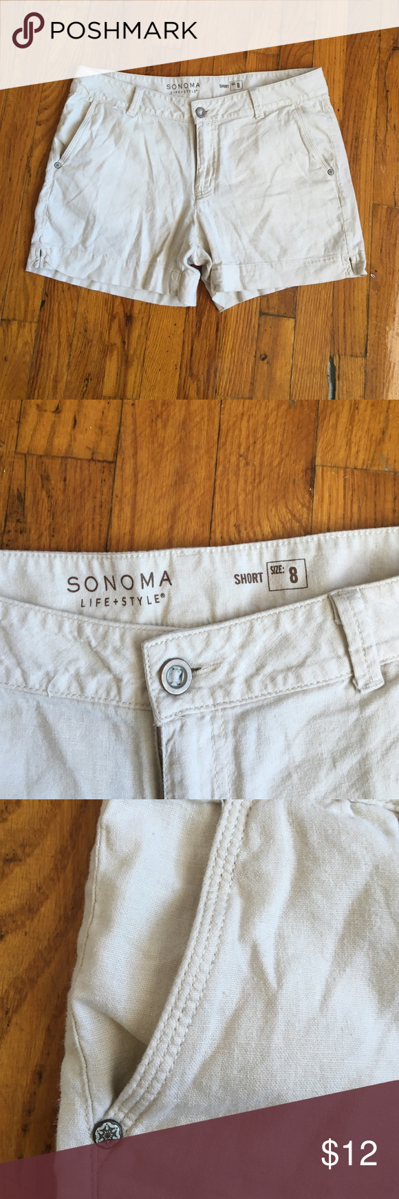 Khaki Shorts Only worn once. Perfect condition. 14 inches from waist to bottom hem. Smoke & Pet free home. Bundle and Save. 🚫NO TRADES🚫 Sonoma Shorts