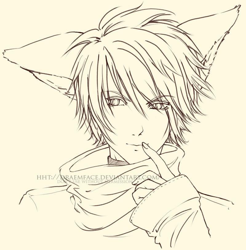 Line Art Anime Google Search Line Art Fox Boy Fox Coloring Page