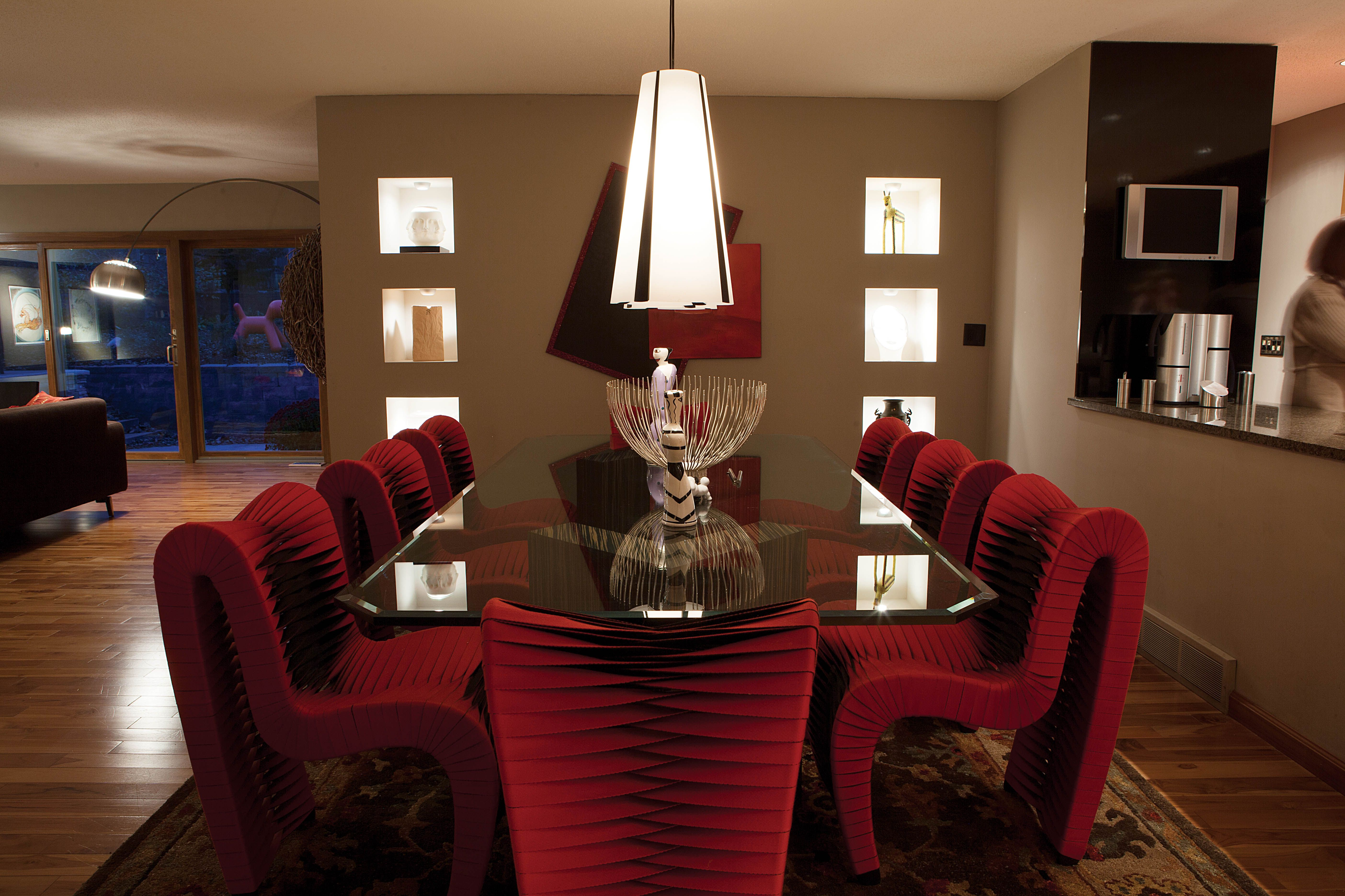 Formal Dining Room Paint Color Ideas Part - 44: Dark Khaki Color For Dining Room Painting Ideas With Modern Glass Rectangle  Shaped Dining Table Countertop Complete With The Decorating And Unique Red  Soft ...