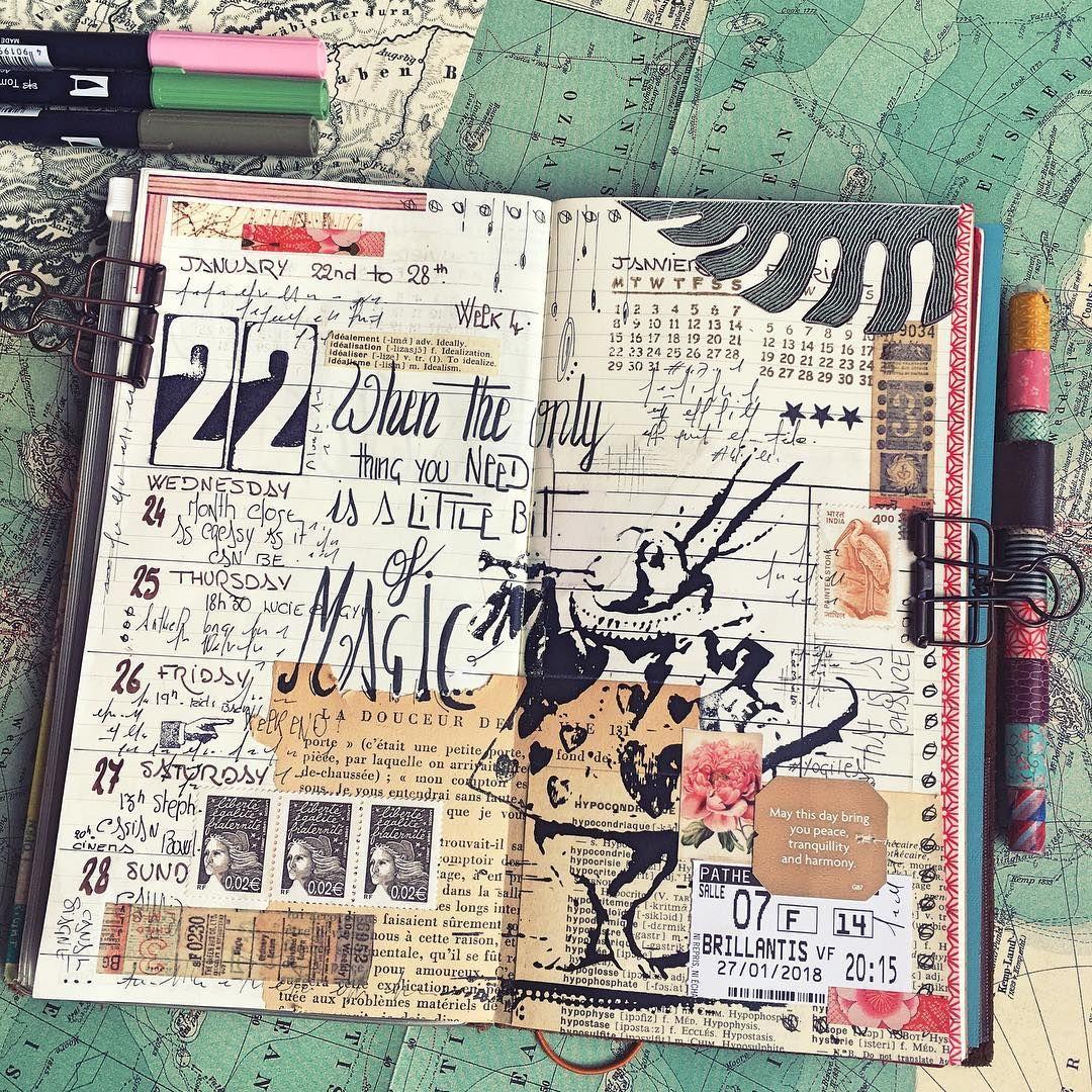 Week 4. When the only thing you need is a little bit of magic.  Happy Journaling ! #aliceinwonderland #midori . . . . . . . . #carnetdevoyage #midoritravelersnotebook #thedailywriting #creativelettering #flowpetitsplaisirs #artjournal #moleskine #collage #artjournaling #journal #journaling #bulletjournal #travelers #mixedmedia #planner #junkjournaling #traveljournal #文具 #文房具 #印章 #ほぼ日手帳 #纸胶带 #手帳 #贴纸 #トラベラ