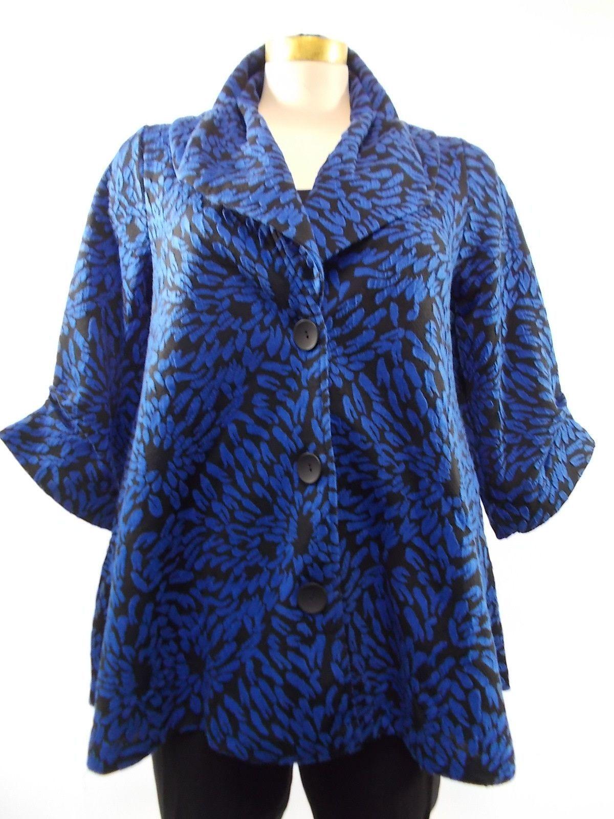Damee - Black/Blue Chrysanthemum Print Long Jacket
