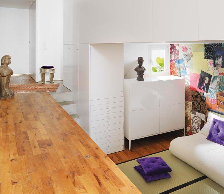 olvasósarok szinteltolással - Egy szép nőies és természetes modern lakás finoman rusztikus részletekkel 7