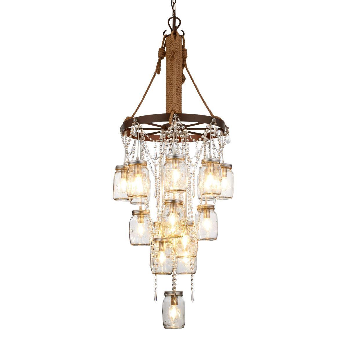 kronleuchter 17 weckgl ser als lampenschirme kristallbehang industrial look metall glas. Black Bedroom Furniture Sets. Home Design Ideas