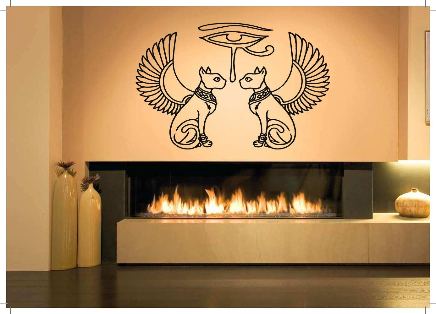Wall Room Decor Art Vinyl Sticker Mural Decal Egypt Cats Eye Ra Big ...