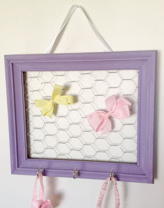 Purple Framed Chicken Wire Hair Bow and Clip Organizer Girls ...