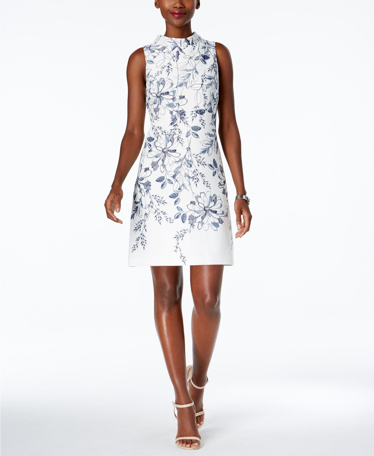 Ivanka Trump Mock-Neck Floral-Print Shift Dress | macys.com ...