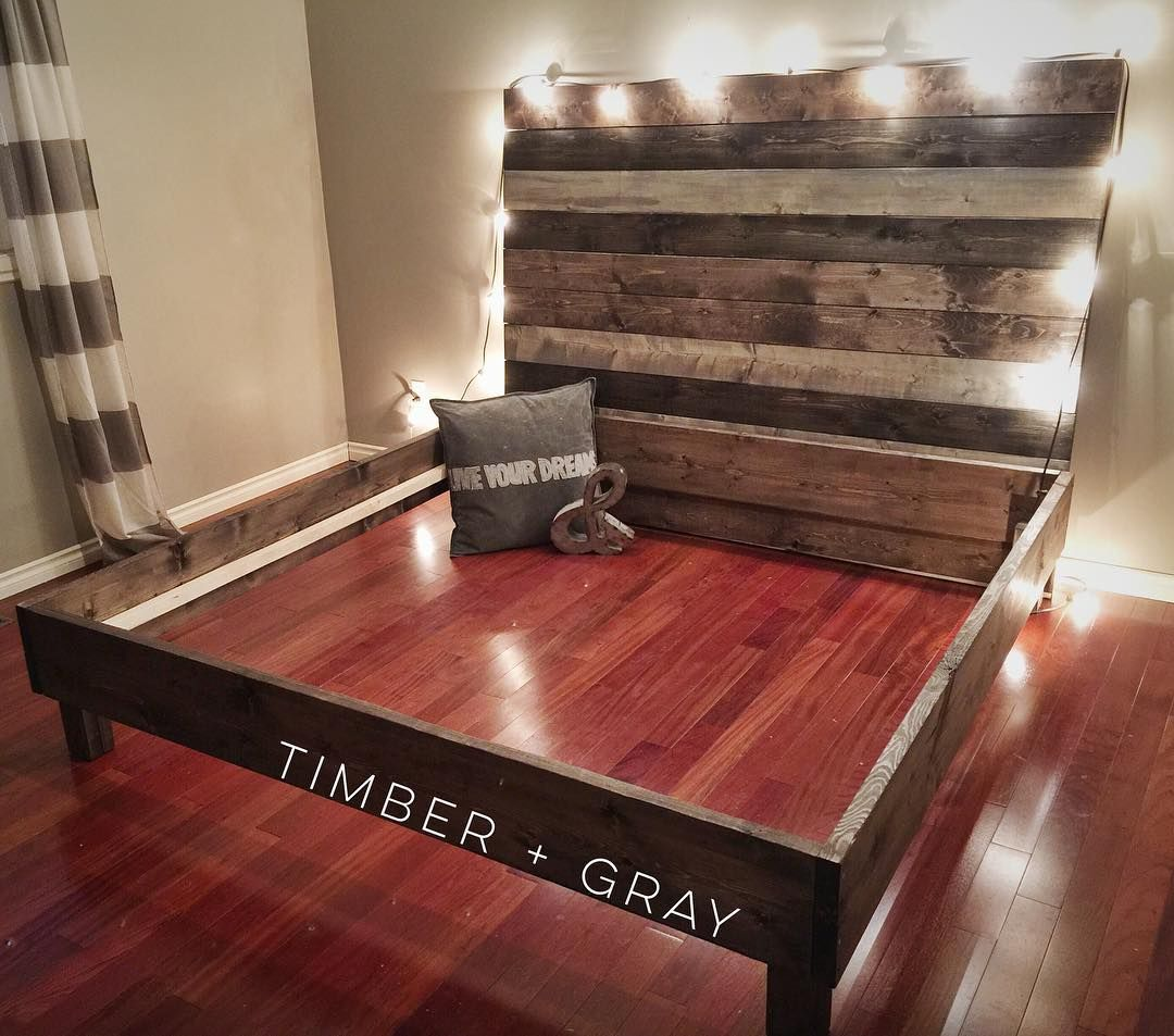 Farmhouse bed diy bed diy headboard pallet bed for Diy rustic bedroom set