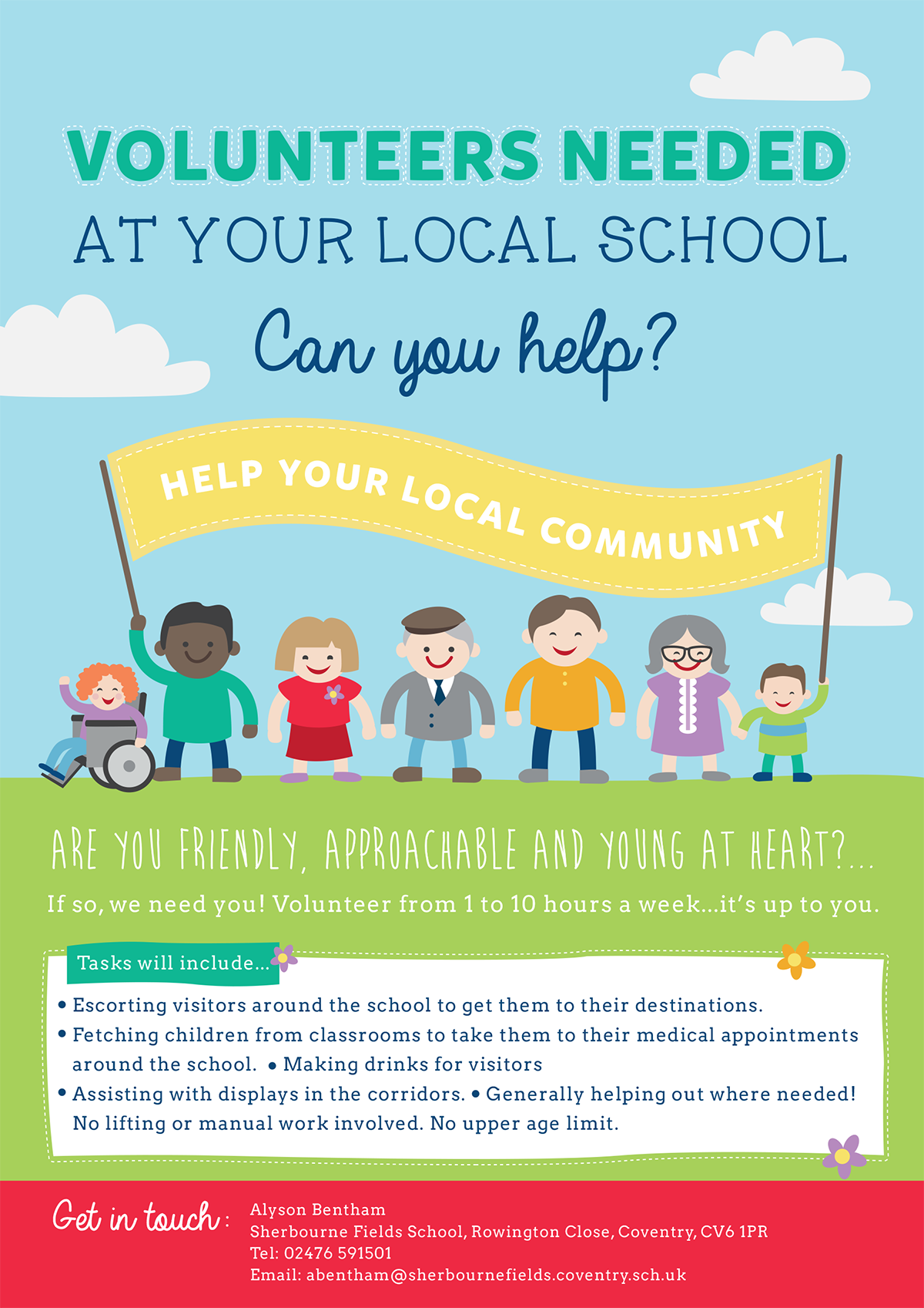 Lovely poster idea for getting school volunteers  | Parent