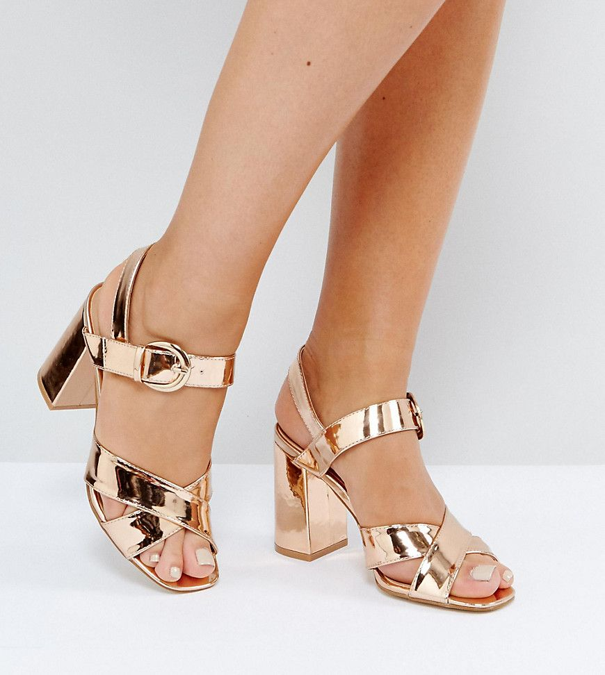 741416c5ed Truffle Collection Wide Fit Block Heel Sandals - Copper | Products ...