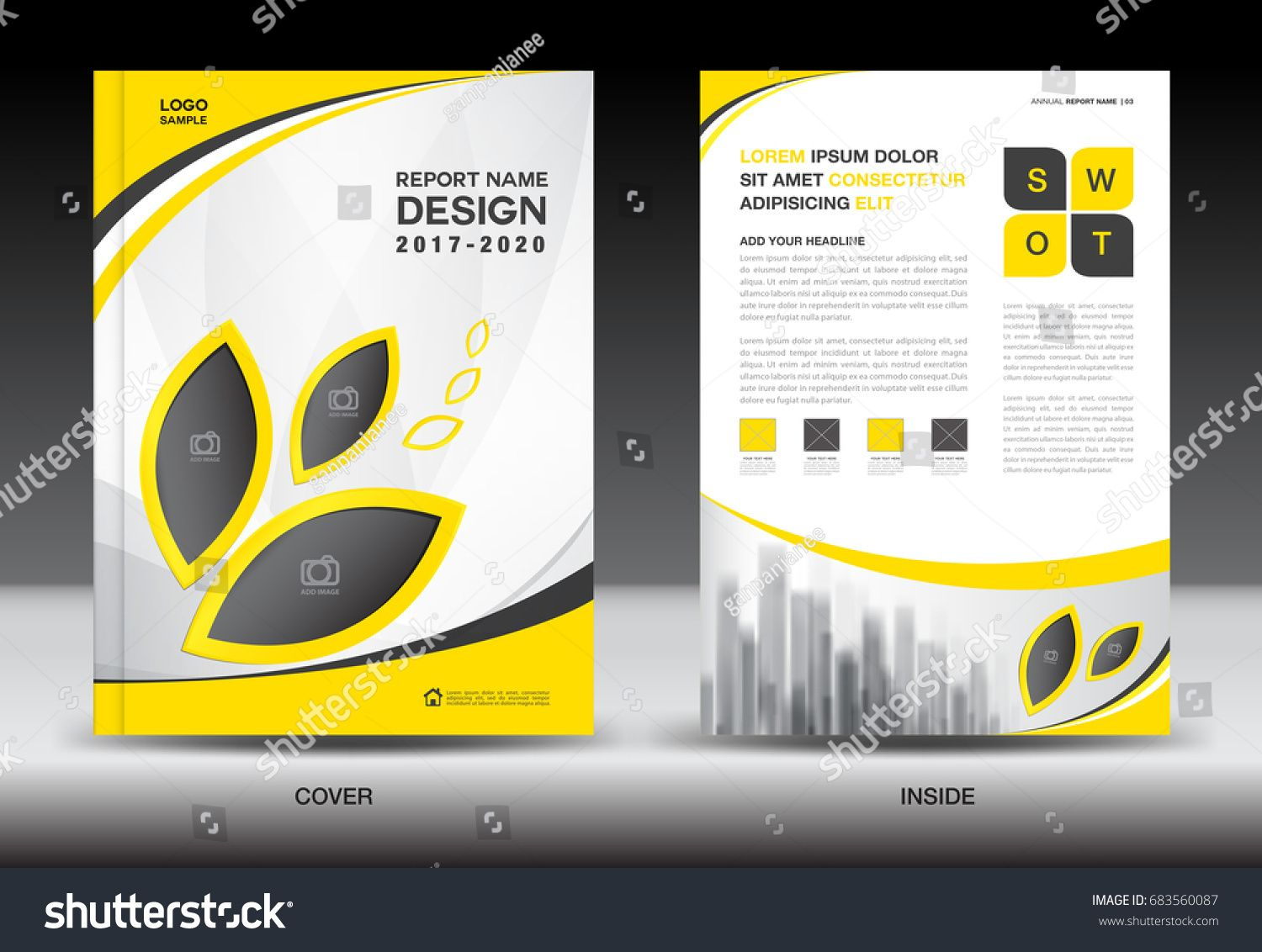 Annual Report Brochure Flyer Template Yellow Cover Design