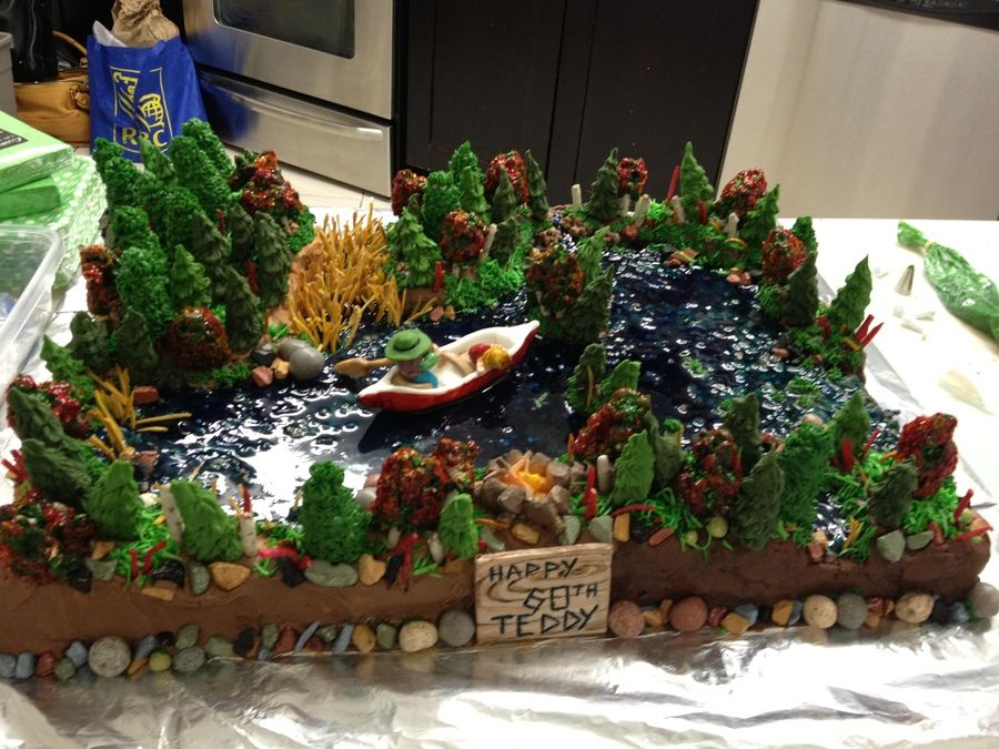Forest Lake And Canoe Cake With Images Pond Cake Forest