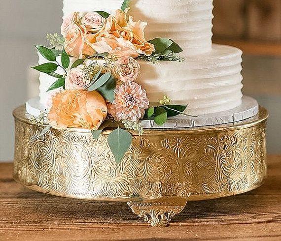 16 Gold Round Cake Stand Beautiful Aluminum Embossed