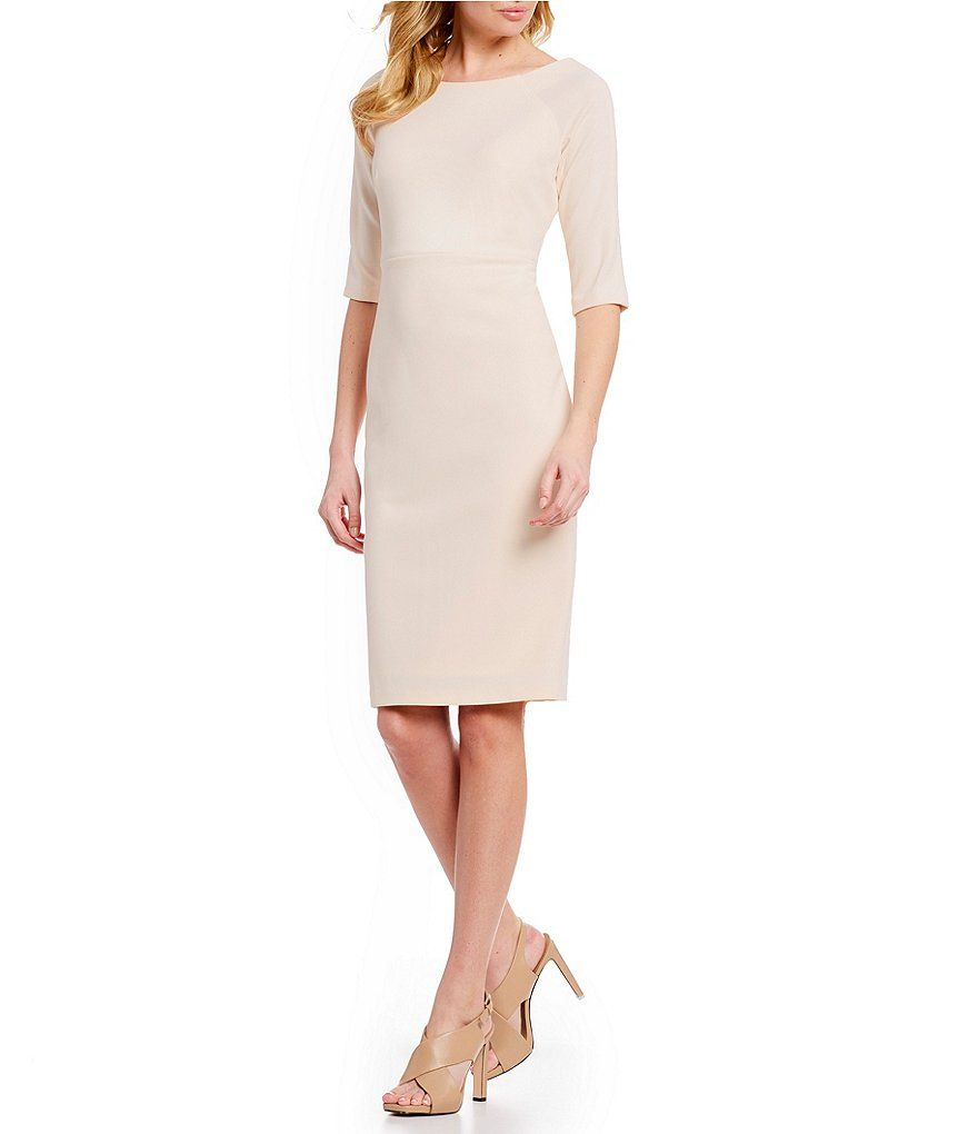 7de74853722 Calvin Klein Bateau Neck 3 4 Sleeve Sheath Dress in 2019