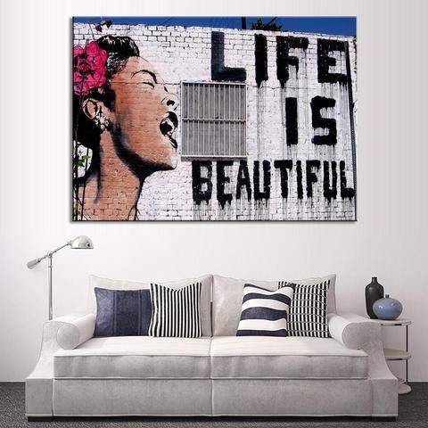 Billie Holiday Banksy Art Life Is Beautiful Wall Piece