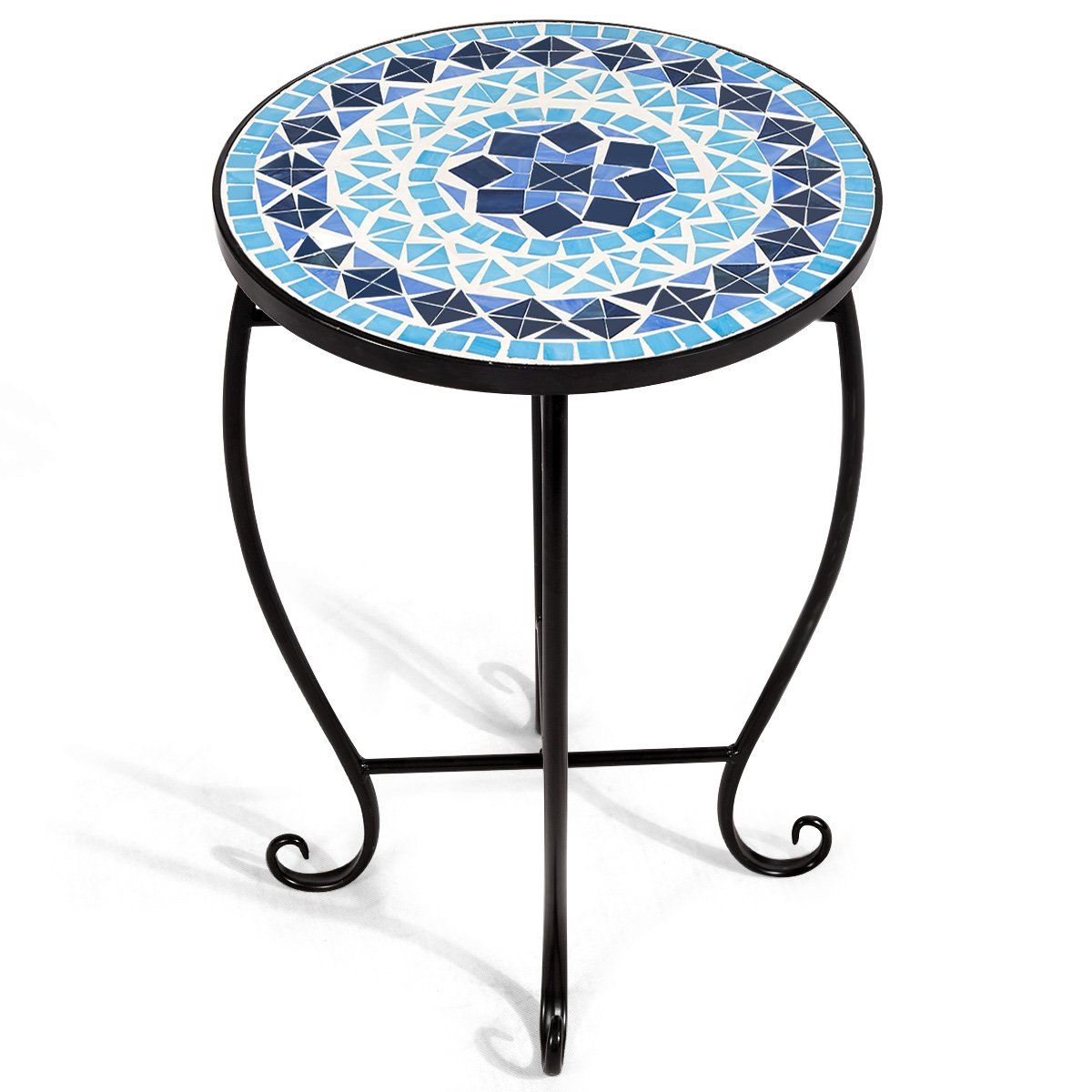 Mosaic Round Side Table Patio Ocean Fantasy Mosaic Accent Table Pool Decor Mosaic Table