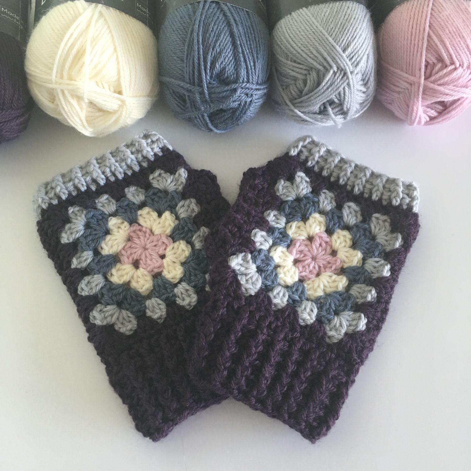 36ee811ea3517 Granny Square Crochet Wrist Warmers   crochet stitch   Crochet wrist ...