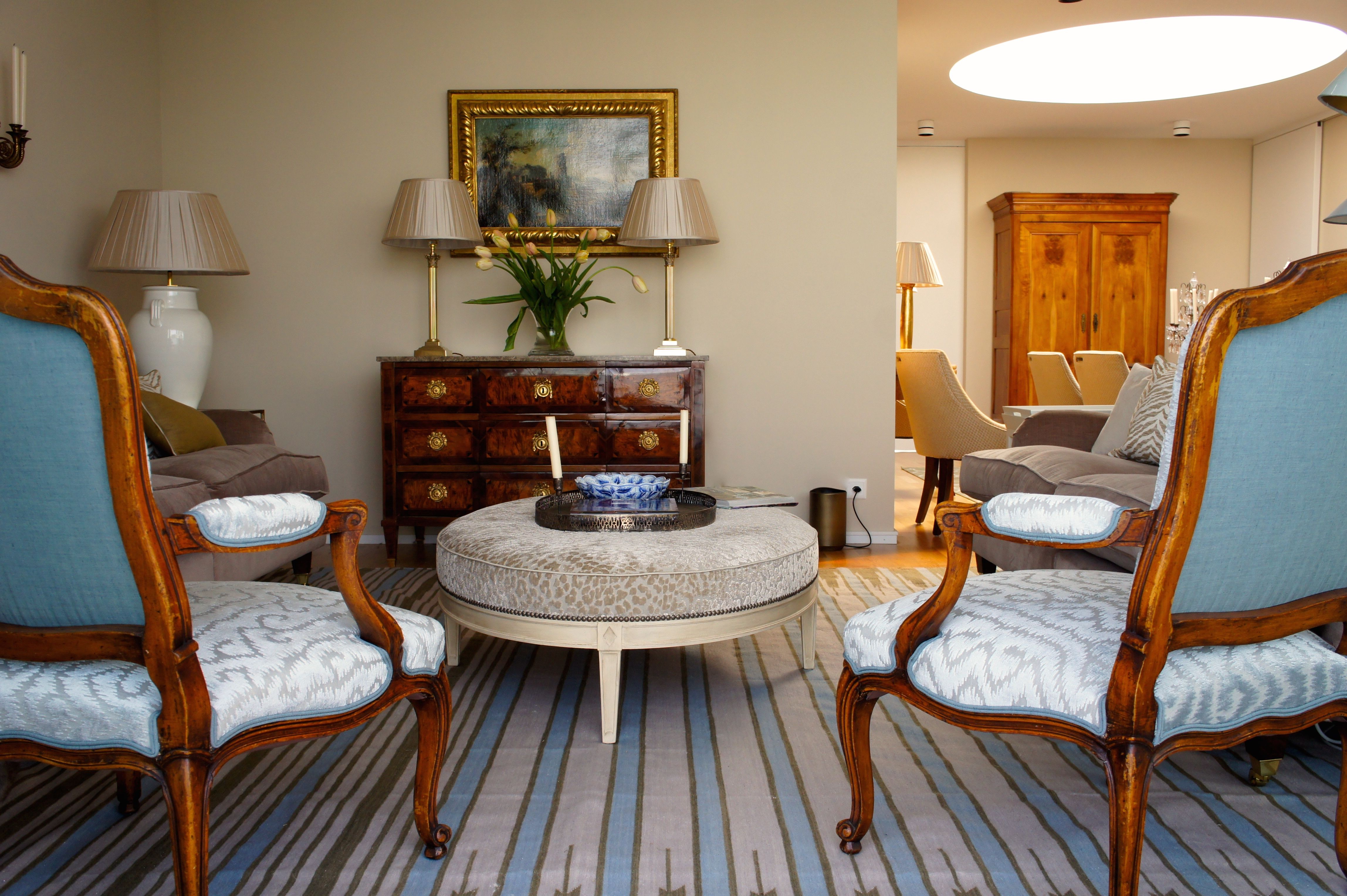 Room of the Day ~ dhurrie stripes combine with pale blue ...