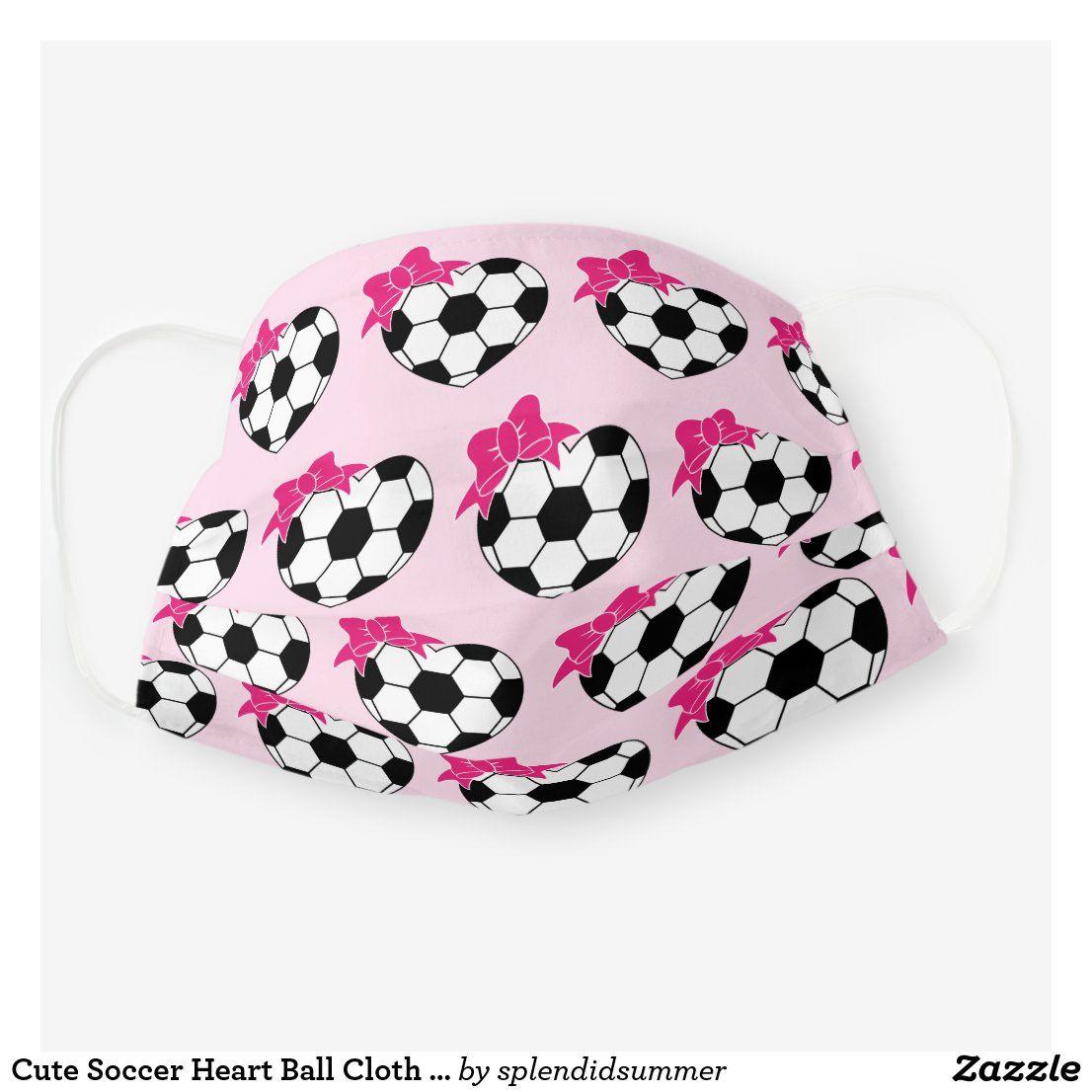 Cute Soccer Heart Ball Cloth Face Mask Zazzle Com In 2020 Face Mask Face Masks For Kids Mask For Kids