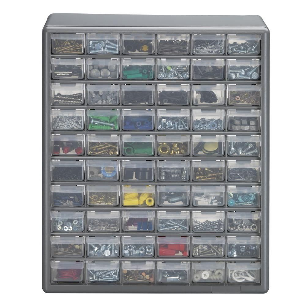 Stack On 60 Compartment Gray Storage Cabinet For Small Parts Organizer,  Grey   Storage Cabinets And Products