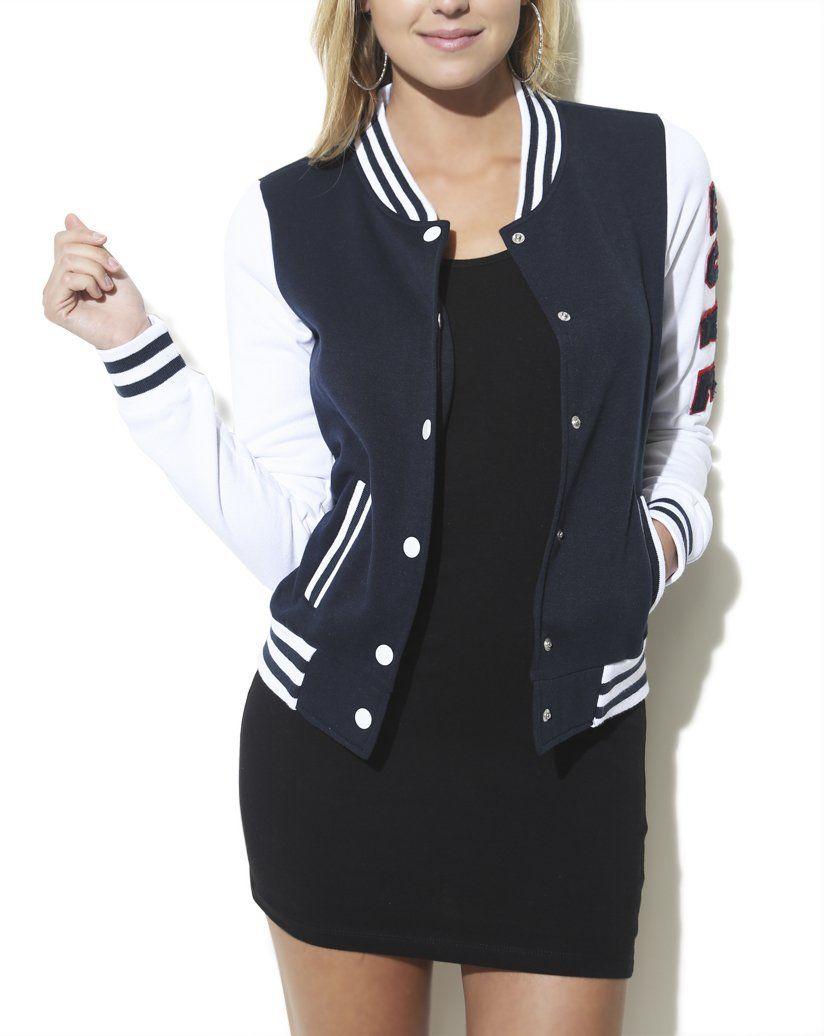 Amazon.com: Wet Seal Women's Love Applique Baseball Jacket L Navy: Clothing #varsityjacketoutfit