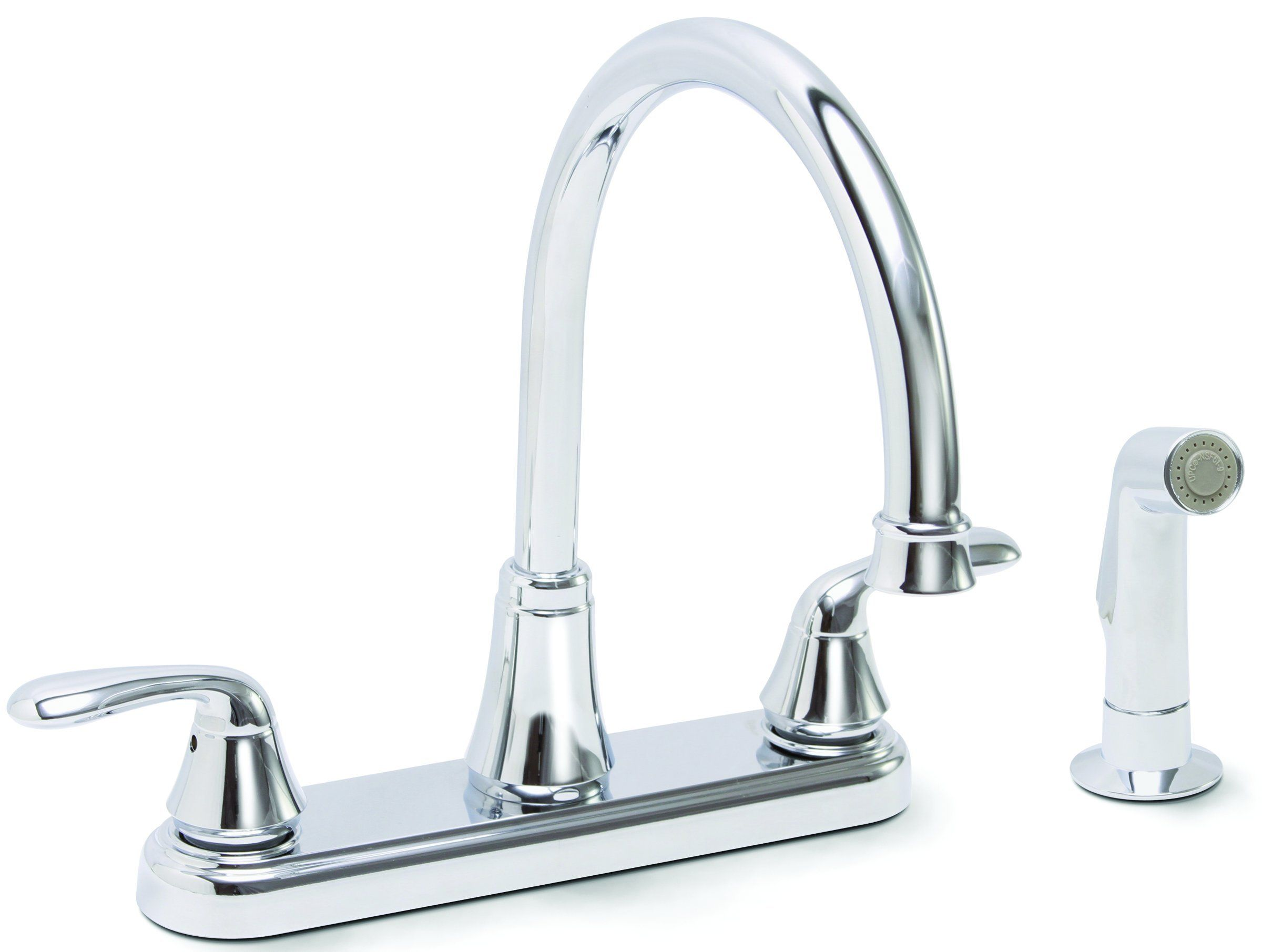 Premier Faucet 126967 Waterfront Lead Free Two Handle Kitchen With Spray Chrome