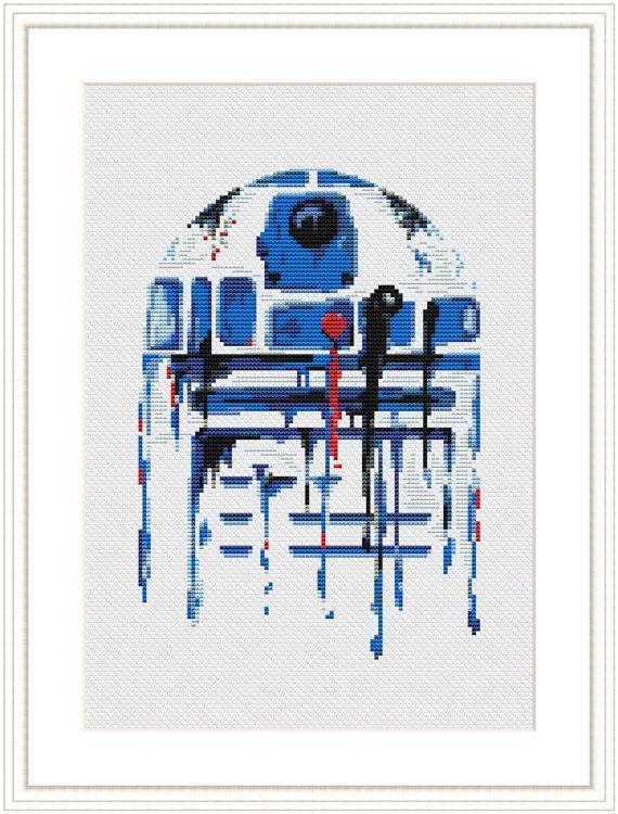 Star Wars Cross Stitch PDF pattern R2D2 - Watercolor - Silhouette On ...