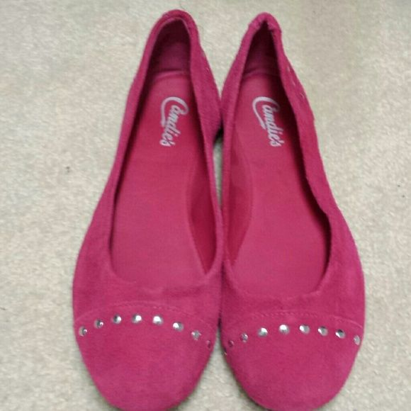 Hot pink flats Cute hot pink flats with silver studs. Worn once, excellent condition. Very comfortable. Candie's Shoes Flats & Loafers