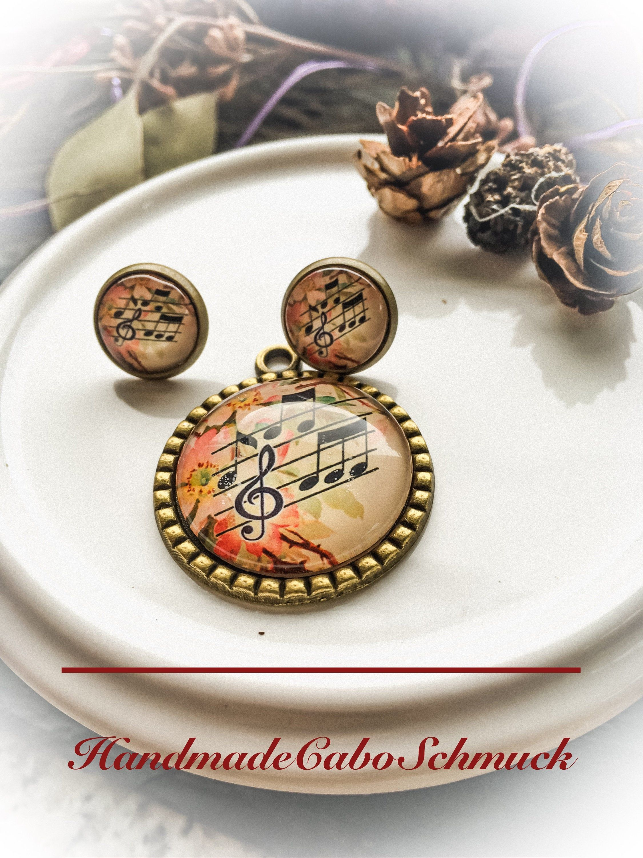 Cabochon Schmuckset bronze, Musik, Noten, Notenschlüssel, 12mm Cabochon Ohrring… – Blanca Ernser