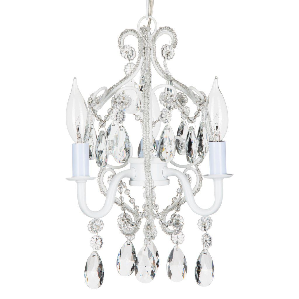 3 Light Mini Crystal Beaded Plug In Chandelier White With