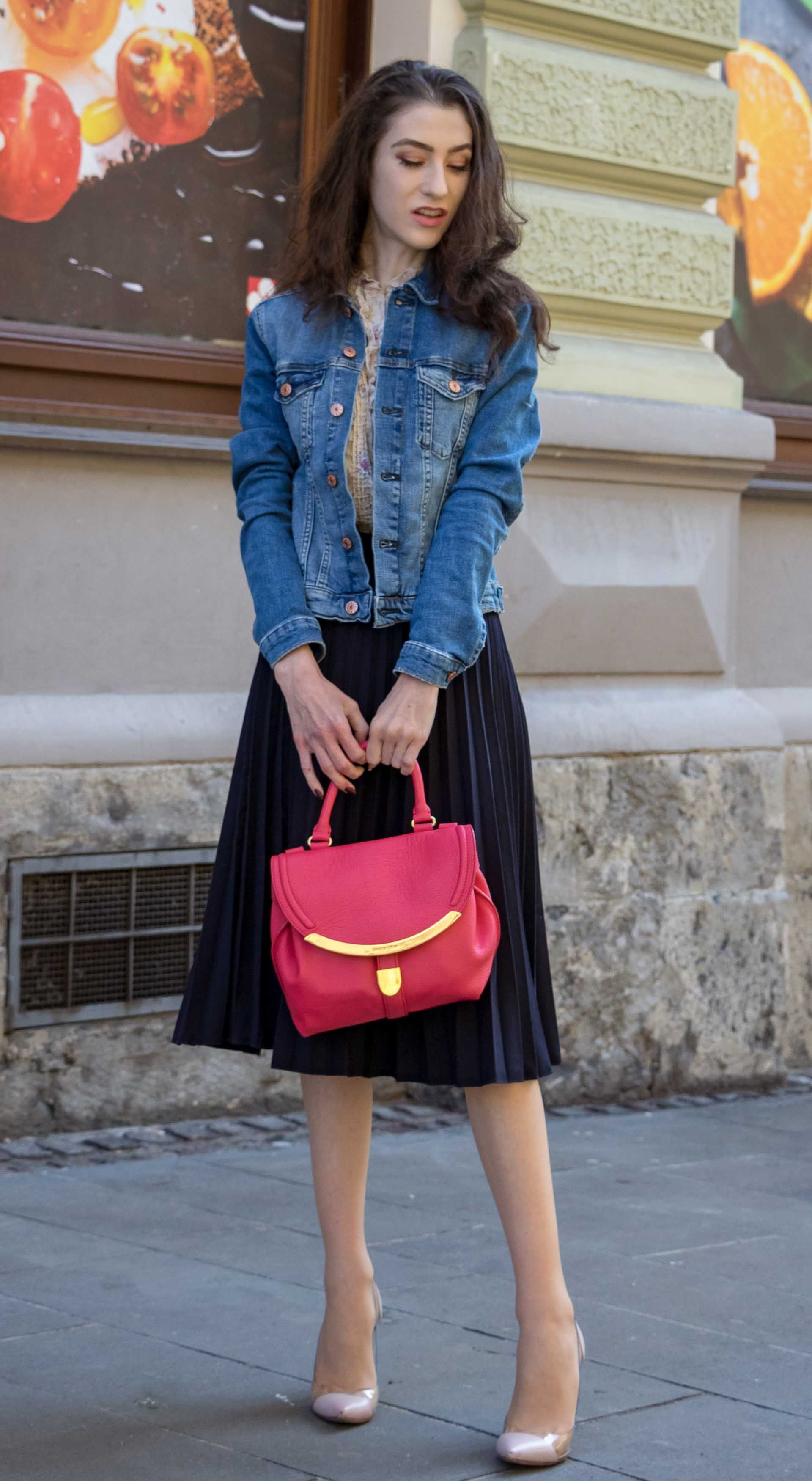 d9bc0b94c9 Fashion Blogger Veronika Lipar of Brunette from Wall Street sharing how to  style elegant pleated midi skirt with denim jacket for brunch #fashion  #blogpost ...