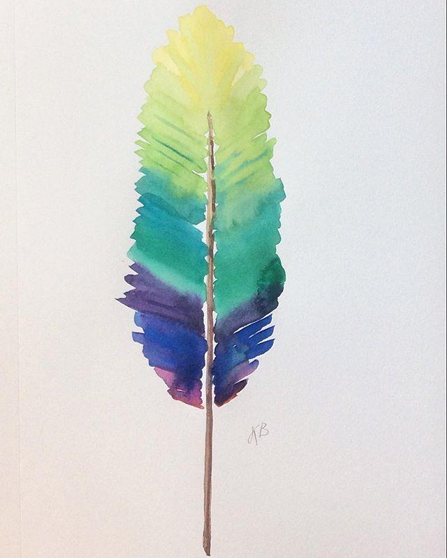 From @kristinboldizar - 15/100 Always inspired by  the beautiful colors of @furbishstudio ##100dayproject #100daysofjenniferbykristinboldizar #sketchpad #illustration #childrensbookillustration #creativity #feather #rainbow #furbishstudio