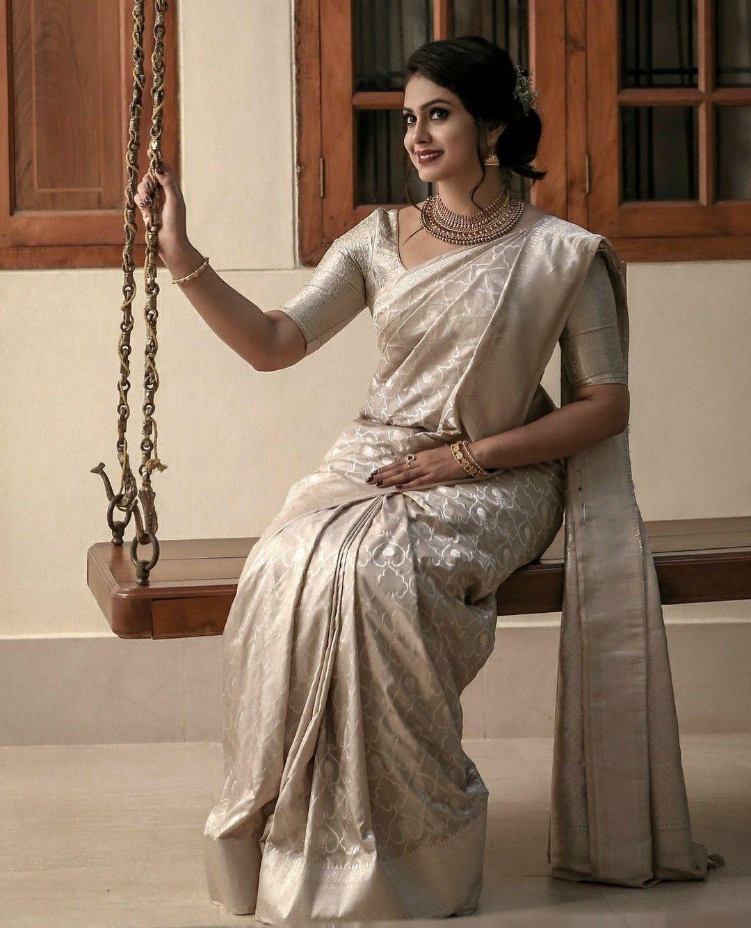 Pin By Mamatha Ramesh On Saree Christian Bridal Saree Bridal Saree Wedding Saree Indian