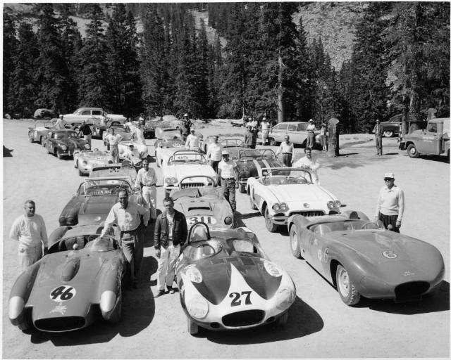 Pikes Peak 1960 : 10 cars of Sports Car qualifiers lined up at Glen Cove. Drivers stand alongside their cars, and include AK Miller, Al Daniels, Bob Carnes, Bill Krause, Charlie Bryant, Dick Morgenson, Frank Peterson, George Menzer, Carl Parise, Carroll Royal, Ray Roach, L.D. Stackhouse, Joyce Thompson, Bob Donner Jr., George Mahnke, Dave Pauling, Mike Collins, Ralph Terry, Jack Vaeth and Roger Ward.