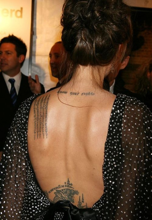 Angelina Jolie Back Tattoo 2 Tattoos Pinterest Tattoos