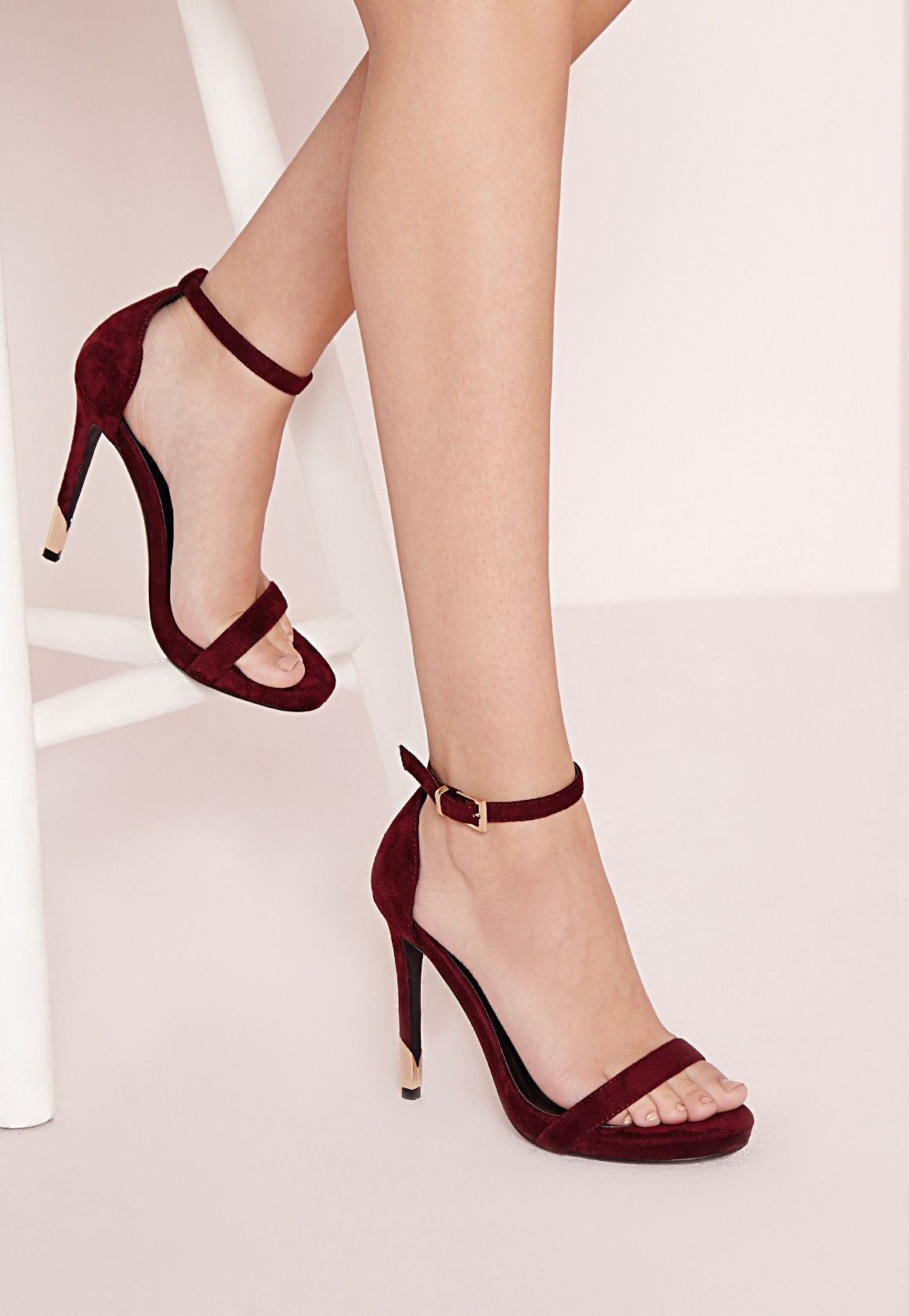 Gold Trim Barely There Heeled Sandals Berry Shoes High