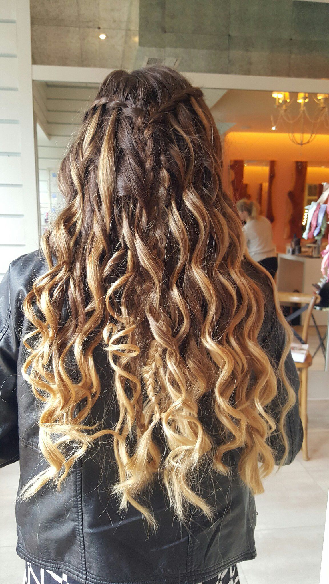 Brown curled ombré hair with waterfall braid