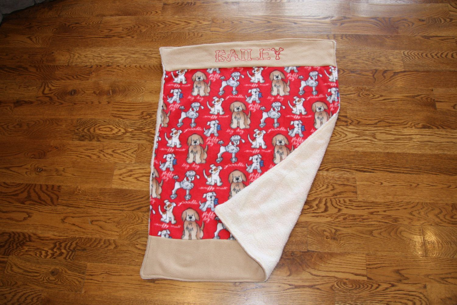 REVERSIBLE Pet Blanket Dog Blanket Fleece Custom Embroidered with Dog Name  Made to Order Personalized pet