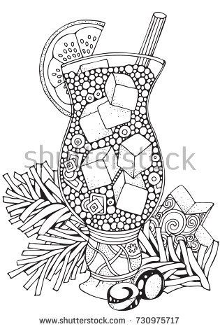 Glass Cup With Lemonade And Ice Pieces Adult Coloring Book Page A4 Size Christmas Decoration Hand Drawn Vector Illustration Black White Pattern For