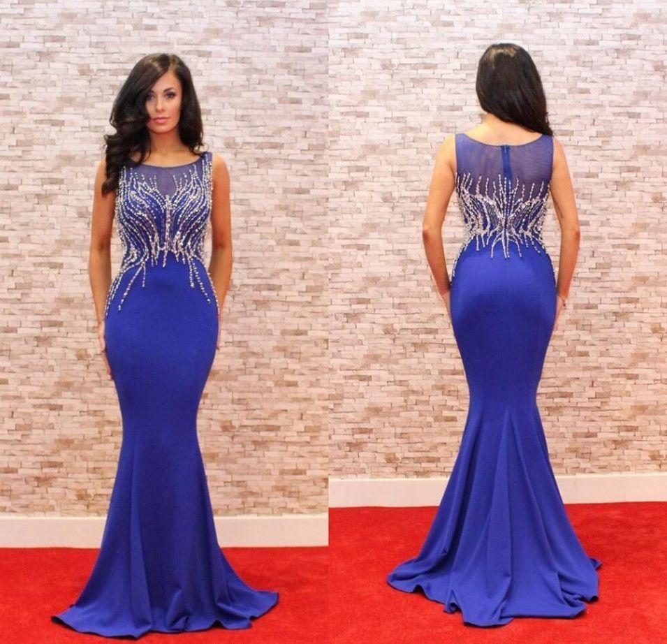 Royal blue mermaid elegant cheap long prom dress wg long prom