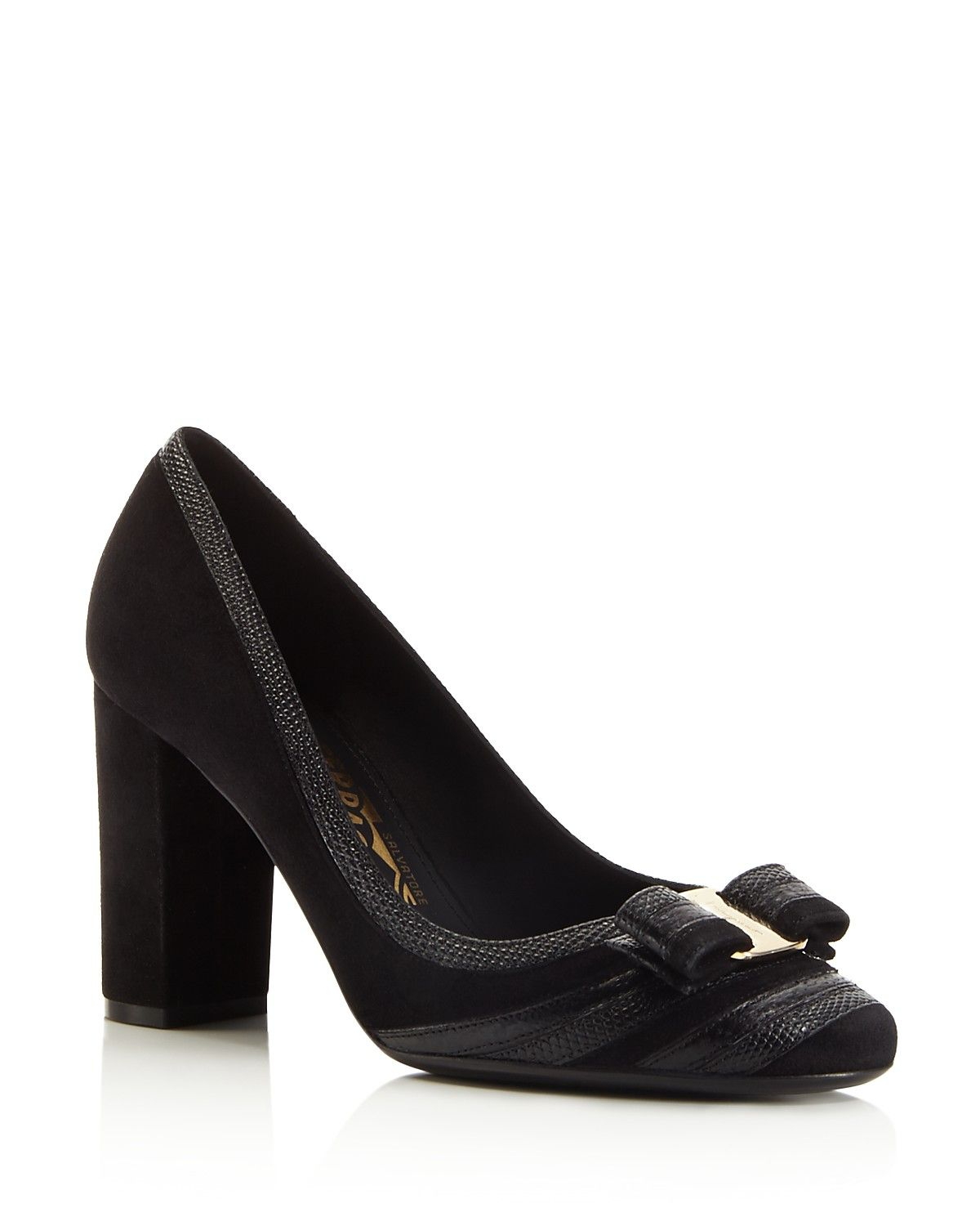 sale enjoy Salvatore Ferragamo Embossed Leather Bow Pumps shopping online clearance AI4JYcaCh