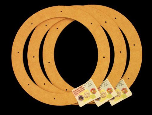 """3 Pack, 12"""" Biodegradable Floral Craft Ring, Ez Glueable Wreath Form, for Photo Frame, Candle Ring, Etc"""