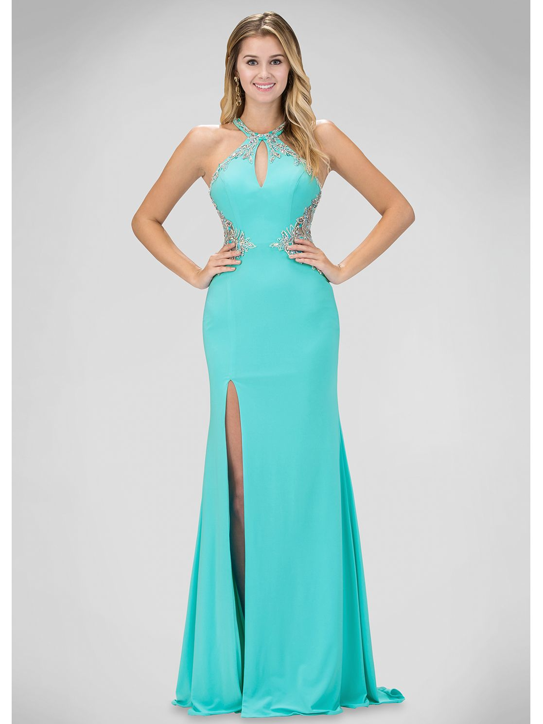 Halter Top Prom Evening Dress with Slit | Sung Boutique L.A. ...
