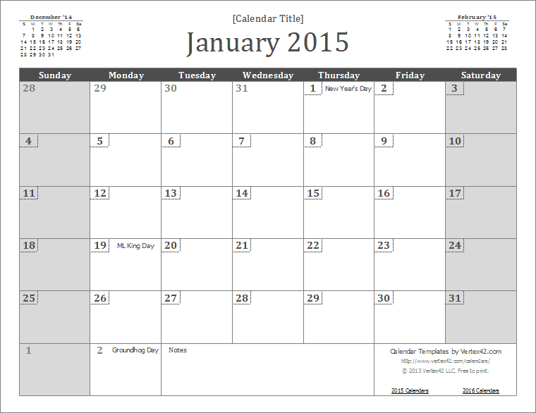 2015 Monthly Calendar With Holidays 2015 Calendar Templates And
