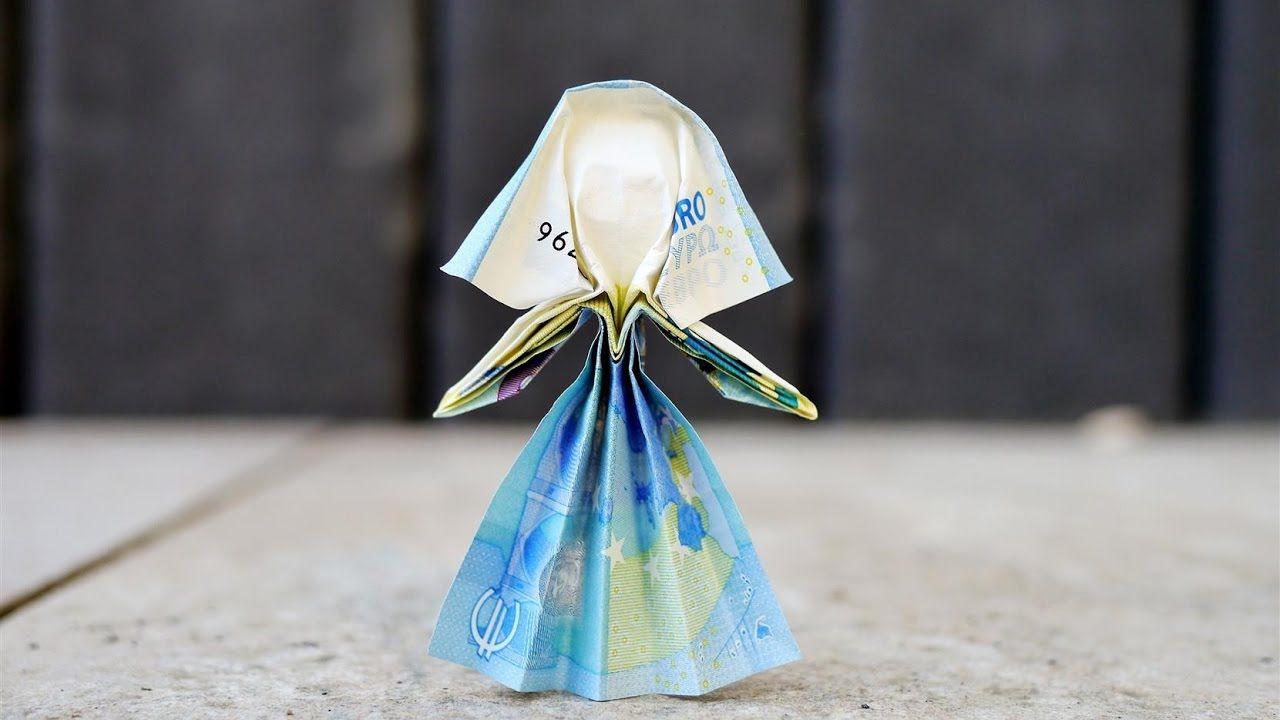 geldgeschenk zur hochzeit origami braut aus beliebigem geldschein origami. Black Bedroom Furniture Sets. Home Design Ideas