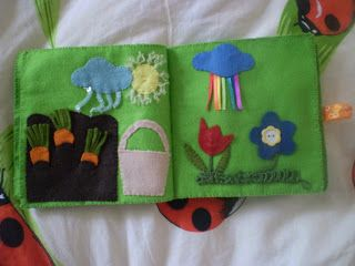 Triinu tuhat toimetust: tegelusraamat/ quiet book: growing carrots/ weather/ flowers page