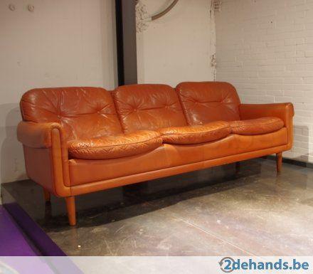 Leren Bank Met Knopen.Vintage Cognac Leren Bank Met Knopen Deens 70s Retro Chair