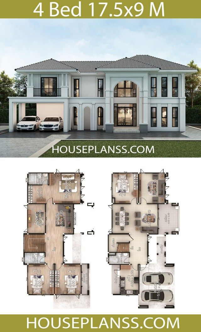 House Design Plans 17 5x9 With 4 Bedrooms In 2020 House Blueprints Architectural House Plans Sims House Design