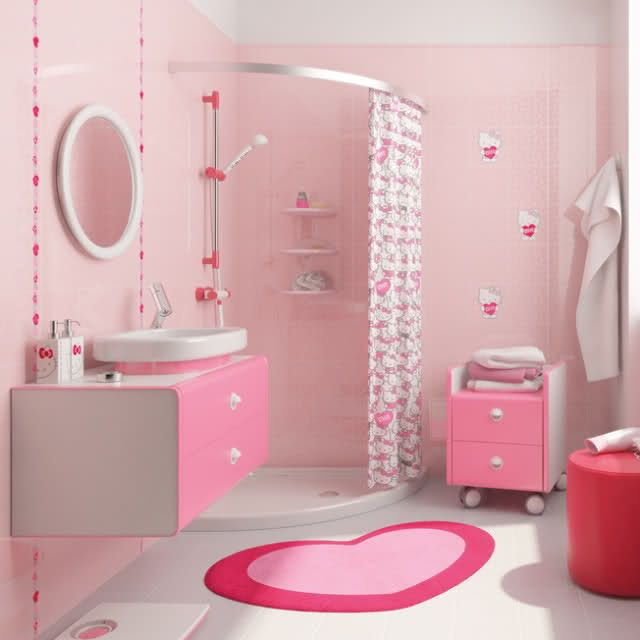 Pin By House Of Pino On Hello Kitty Girl Bathrooms Girl Bathroom Decor Retro Pink Bathroom