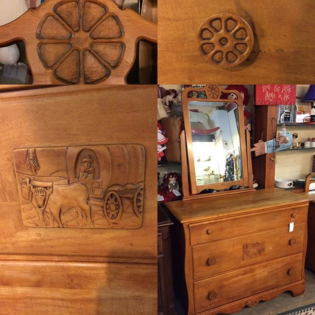 Vintage 1950s Virginia House 3 Drawer Dresser With Mirror, Wagon Wheel  Pulls And Carved Chuckwagon